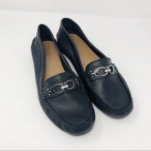 Coach Fortunata black leather loafers metal logo